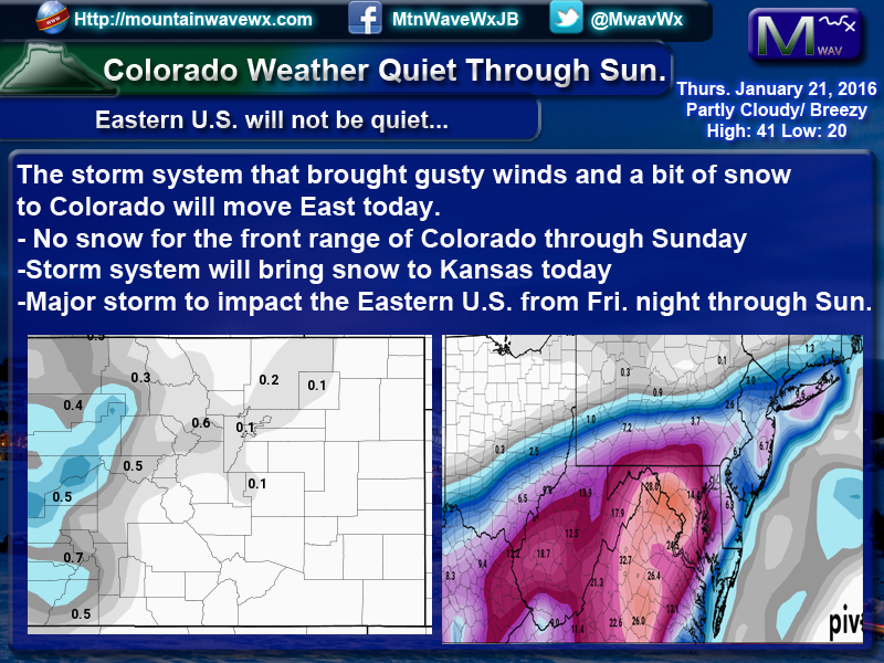 Colorado Quiet – Major Winter Storm to Impact Eastern U.S.