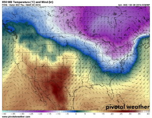 Euro - Notice the ridge of warm air stationed over the Western U.S.