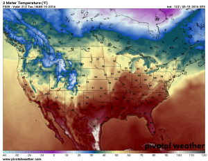 Tuesday March 16 forecast temperatures by 11AM
