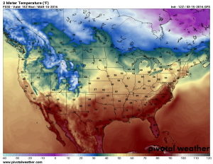 Wednesday March 16 forecast temperatures by 2PM