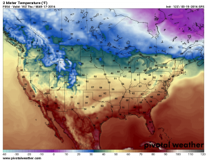 Thursday March 17 forecast temperatures by 2PM