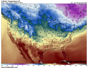 Friday March 18 forecast temperatures by 2PM