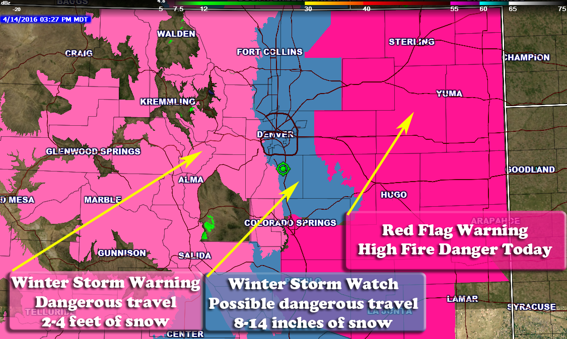 Current Look at Colorado Weather Watches/Warnings for Weekend Storm