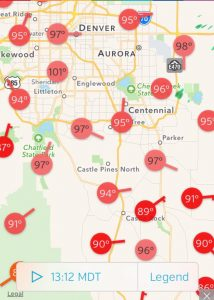 Reported temperatures around 1PM for Front Range of Colorado