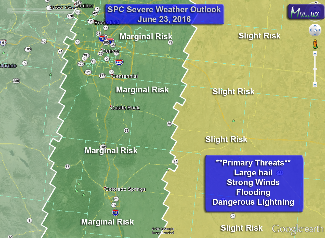 SPC General Outlook has marginal and slight risk areas across Colorado today