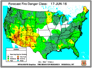 Fire Danger is high in the mountains and moderate on the plains. All areas will see increasing fire danger the next 7-10 days