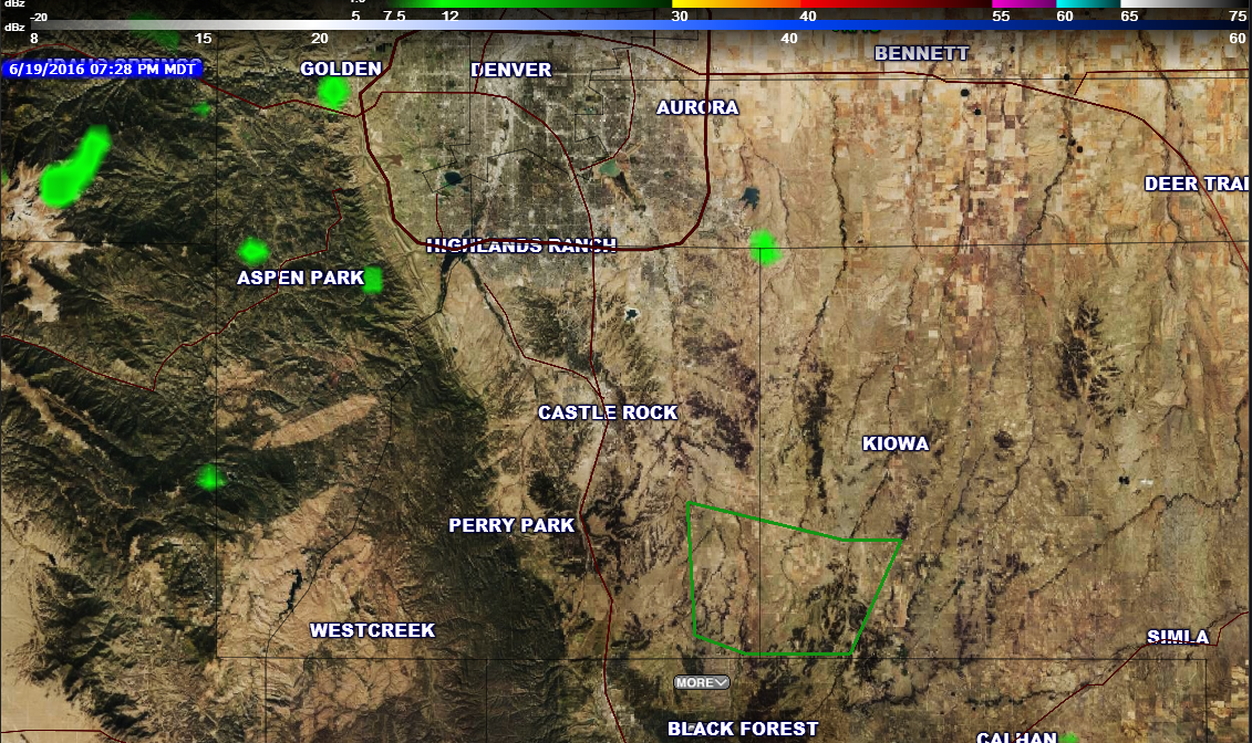 7:30pm radar imagery front range Colorado. No storms in the area