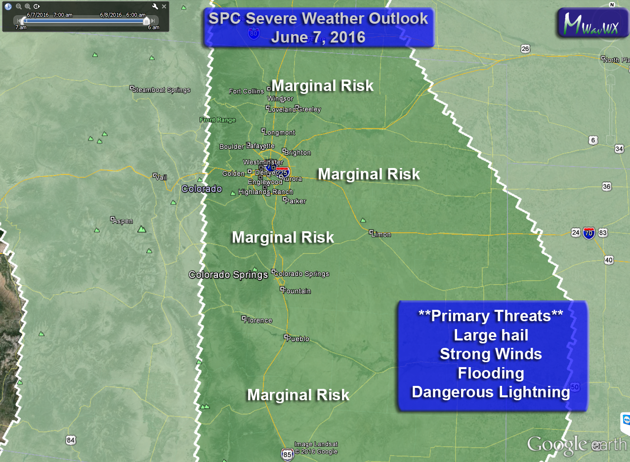 Severe Storms Possible Today for Some Areas of the Front Range