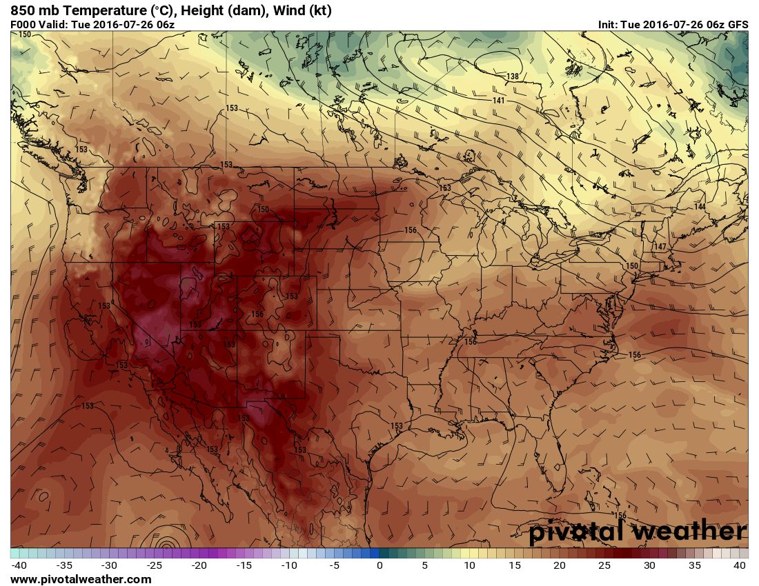 850mb (surface) temperatures and wind profiles