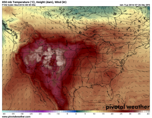 Tuesday 8/2/2016 projected temps from GFS