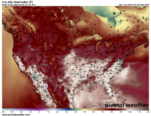 GFS: Projected heat index for Wednesday 3pm
