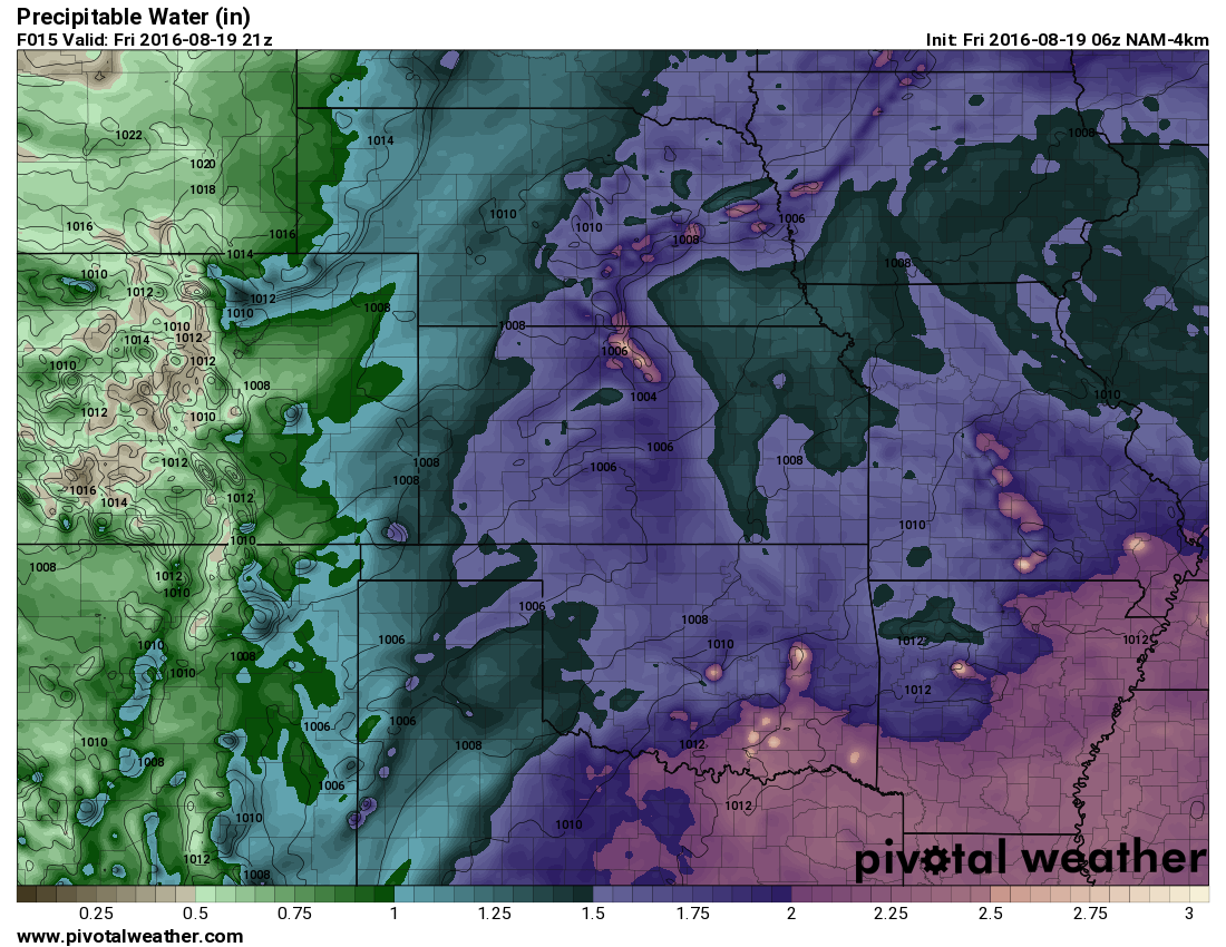 Precipitable water in the atmosphere at about