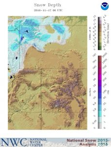 Snow depth chart for November 17, 2016