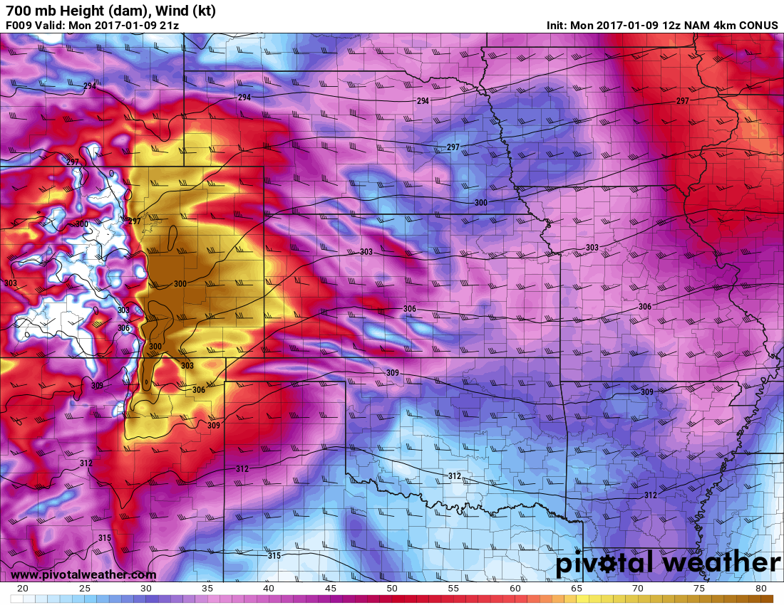 Strong, Damaging Chinook Wind Event in Progress