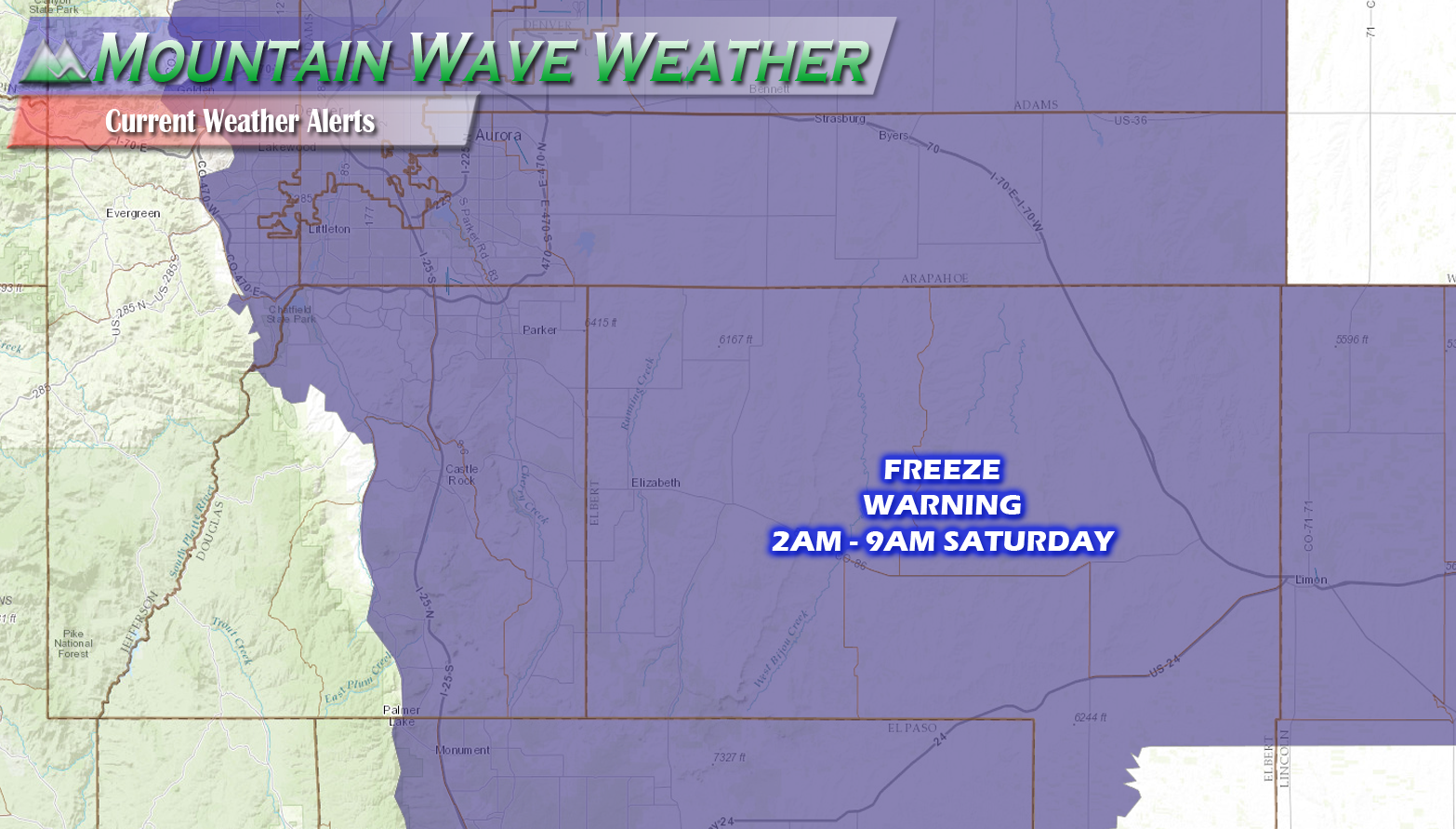 NWS Issues Freeze Warning for Front Range of Colorado