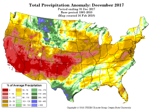 December 2017 Precipitation | Percent of Average | Colorado Drought | Spring 2018
