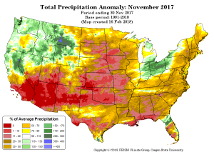 November 2017 Precipitation | Percent of Average | Colorado Drought | Spring 2018
