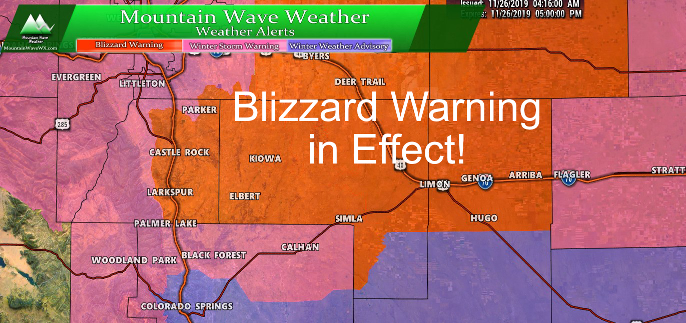 NWS Issues Blizzard Warnings – Travel Strongly Discouraged – 11/26/2019