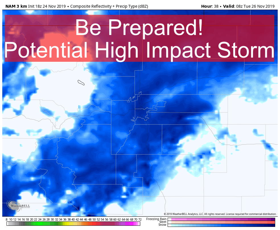 NWS Issues Winter Storm Warning – Strong Storm Taking Shape – 11/24/2019