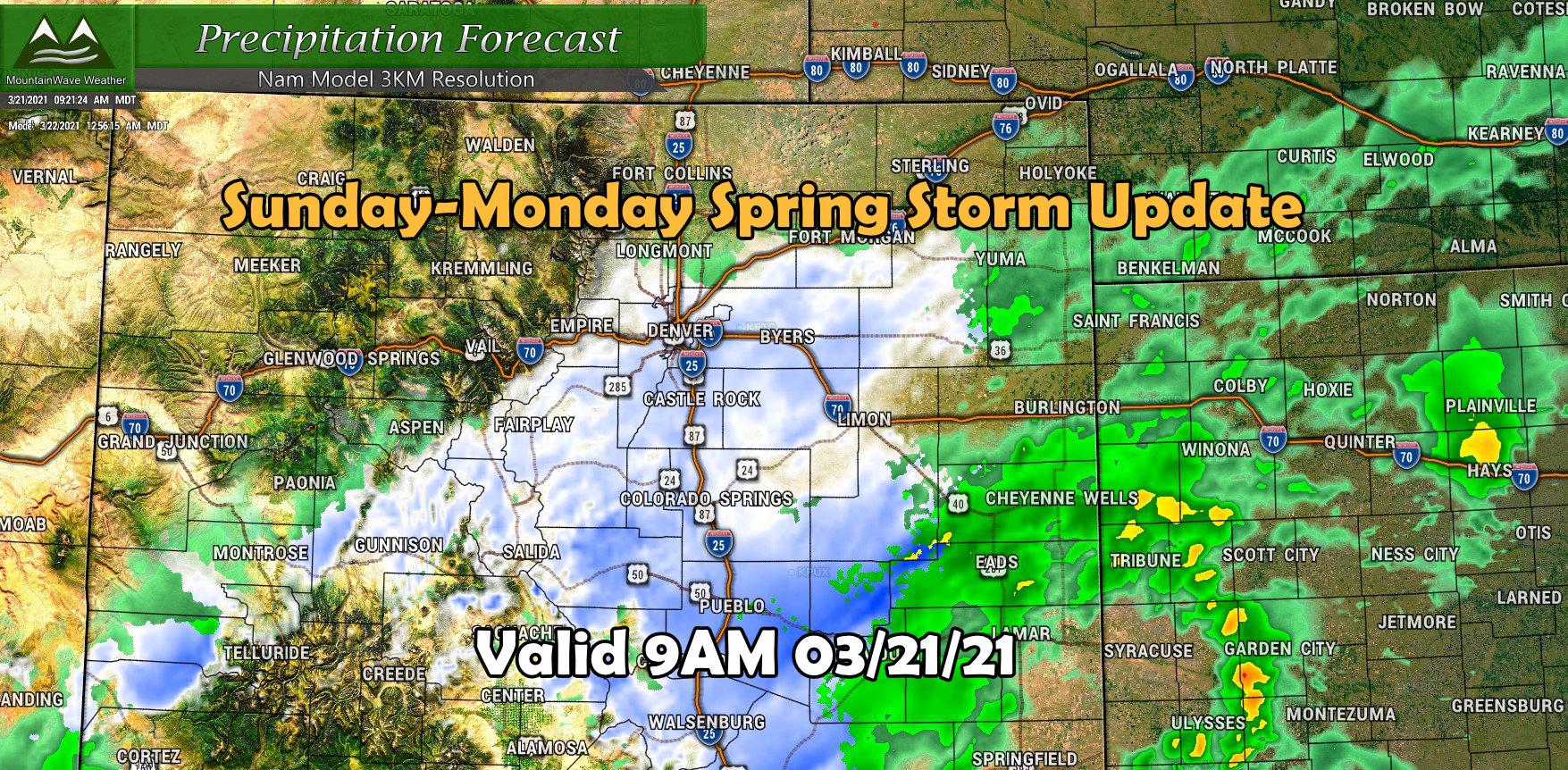 Latest Storm Update Sun-Monday Storm